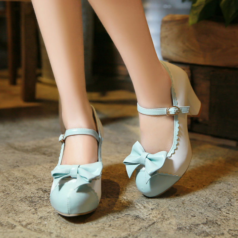 001c20d51a51 Girls Womens Ankle Strap Block High Heels Vintage Mary Jane Lolita Bowknot  Shoes